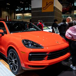 Attendees of the 2020 Chicago Auto Show check out a Porsche Cayenne S Coupe Saturday at McCormick Place.