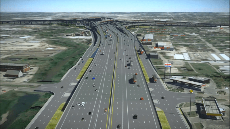 A rendering of a 12-lane wide highway with a large overpass in the distance.