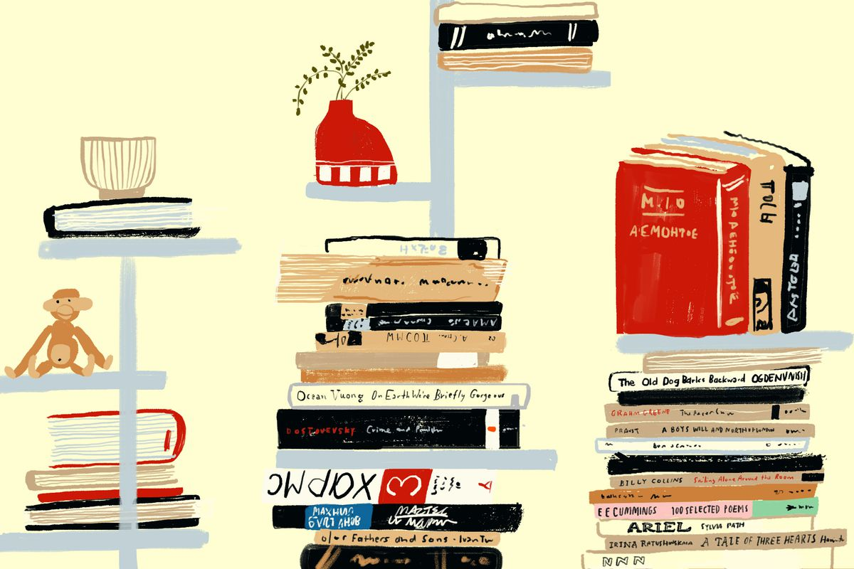 A set of three minimalist vertical shelves holding stacked shelves and various knick-knacks. Illustration.