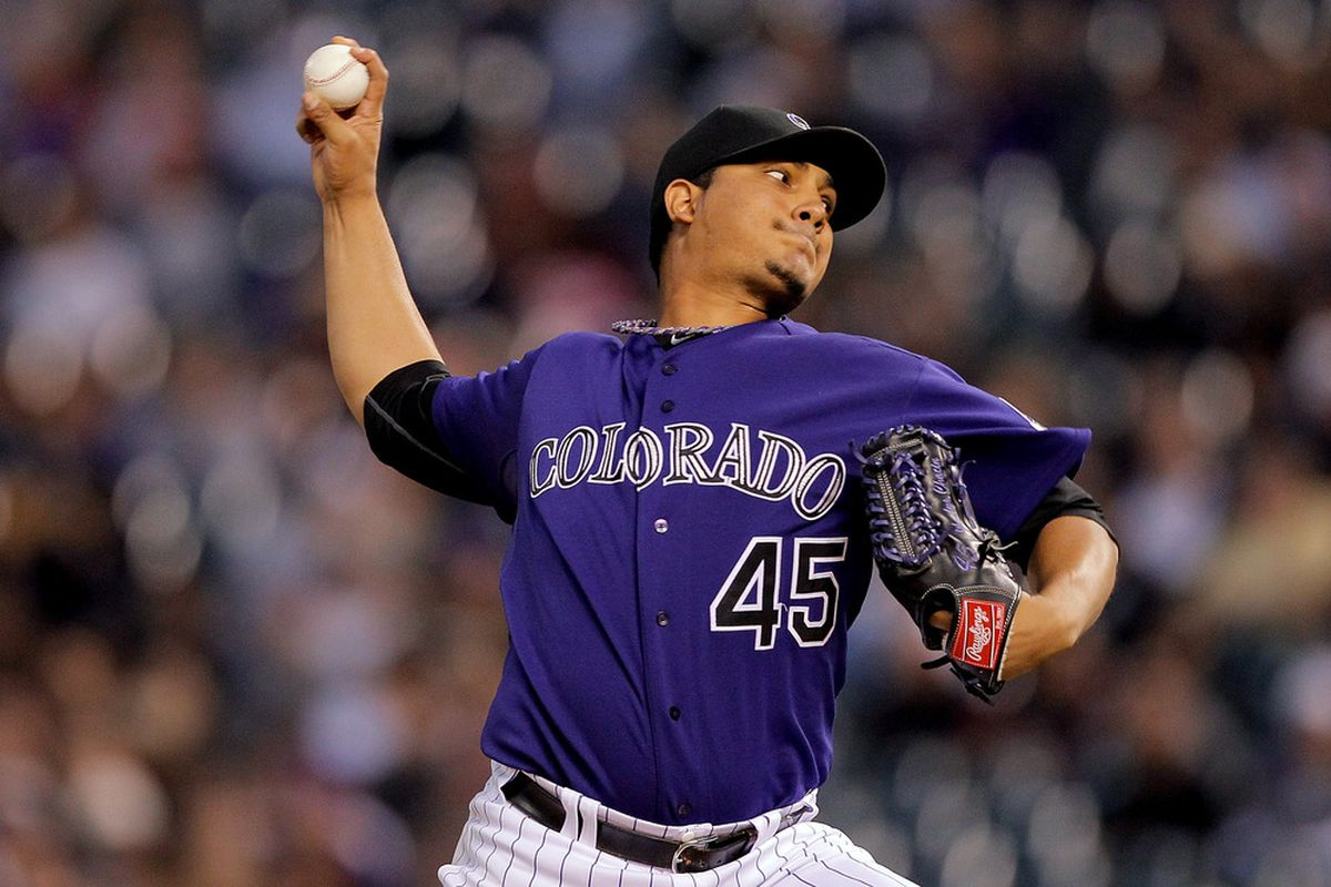 DENVER, CO - SEPTEMBER 20:  Starting pitcher Jhoulys Chacin #45 of the Colorado Rockies works the second inning against the San Diego Padres at Coors Field on September 20, 2011 in Denver, Colorado.  (Photo by Justin Edmonds/Getty Images)