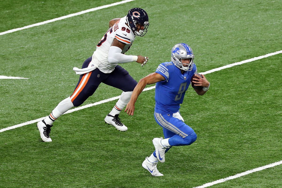 Detroit Lions quarterback Matthew Stafford runs the ball during the first half of an NFL football game against the Chicago Bears in Detroit, Michigan USA, on Sunday, September 13, 2020.