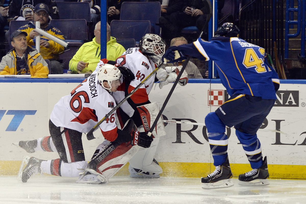Wiercioch attempting to stop Lehner's decision to go coast-to-coast
