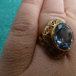 """An interesting blue gem by a Chicago-based <a href=""""http://www.etsy.com/listing/99330117/14k-gold-and-blue-spinel-synthetic?ref=shop_home_active&ga_search_query=ring"""">Etsy</a> seller for a mere $960."""