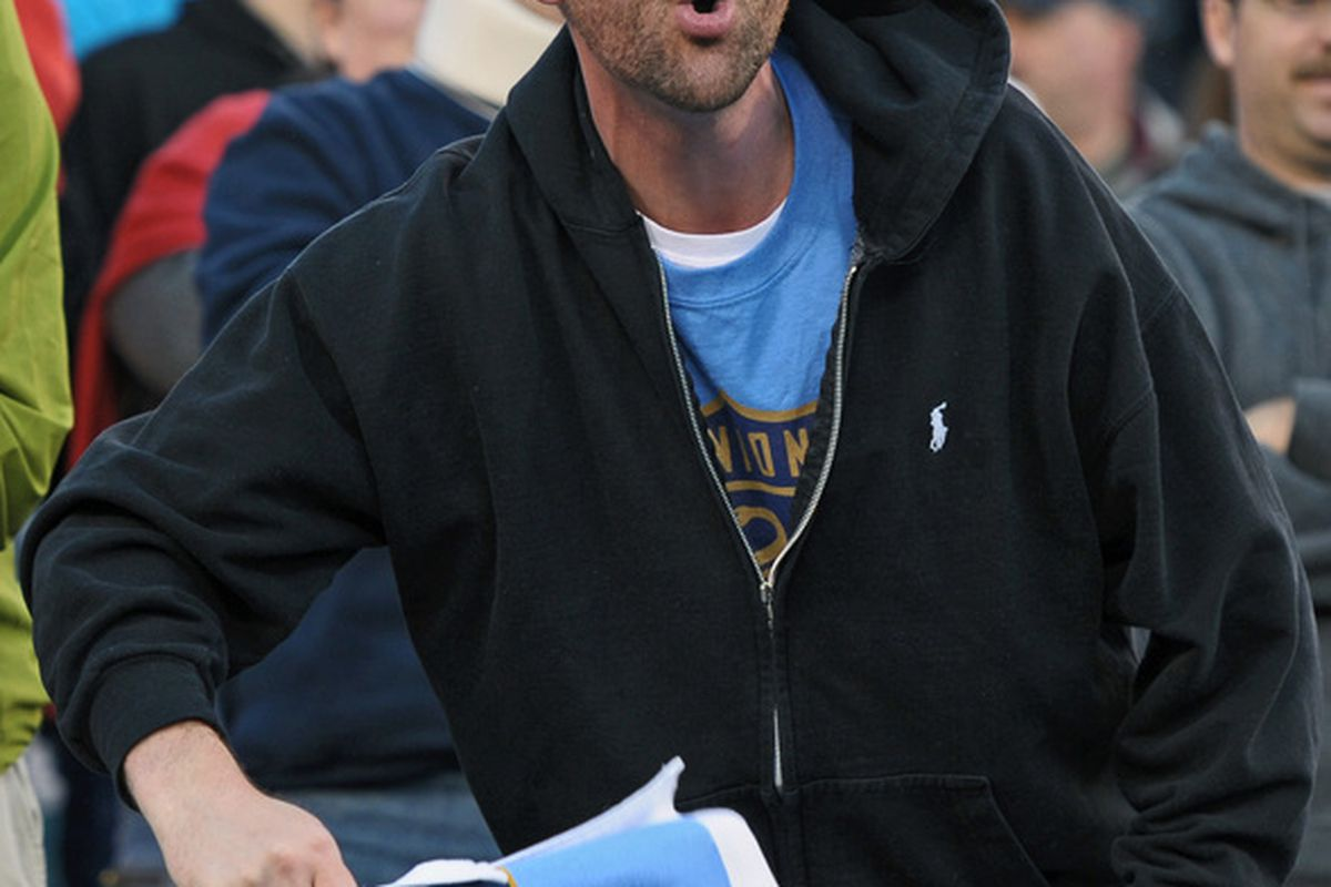 PHILADELPHIA - NOVEMBER 10: A Philadelphia Union fan cheers during the game against D.C. United on April 10, 2010 at Lincoln Financial Field in Philadelphia, Pennsylvania. The Union won 3-2. (Photo by Drew Hallowell/Getty Images)