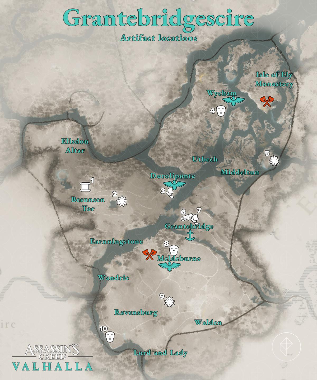 Grantebridgescire Artifacts locations map