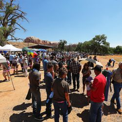 Hundreds line up trying to get into a meeting in Bluff with Interior Secretary Sally Jewell discussing the proposed Bears Ears National Monument in southern Utah on Saturday, July 16, 2016.