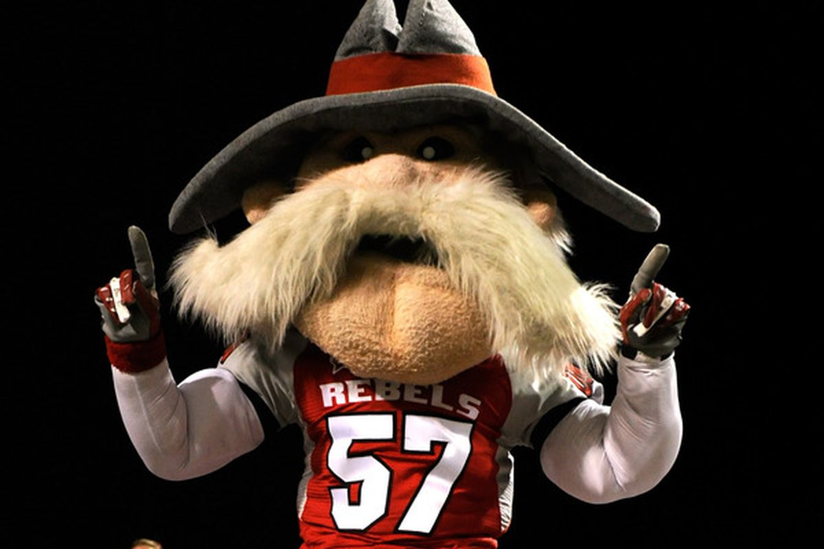 """LAS VEGAS - OCTOBER 30:  UNLV Rebels mascot """"Hey Reb"""" dances in the stands during the team's 48-6 loss to the Texas Christian University Horned Frogs at Sam Boyd Stadium October 30 2010 in Las Vegas Nevada.  (Photo by Ethan Miller/Getty Images)"""