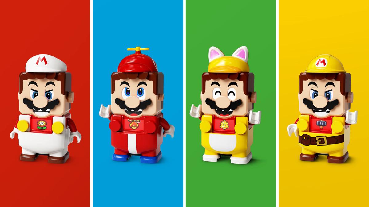 A selection of Lego Mario outfits