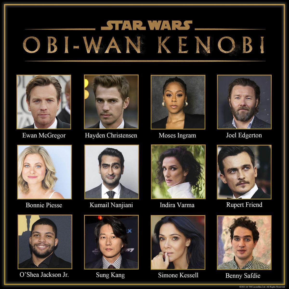 the newly announced cast of Obi-Wan Kenobi, featuring ewan mcgregor and hayden christensen