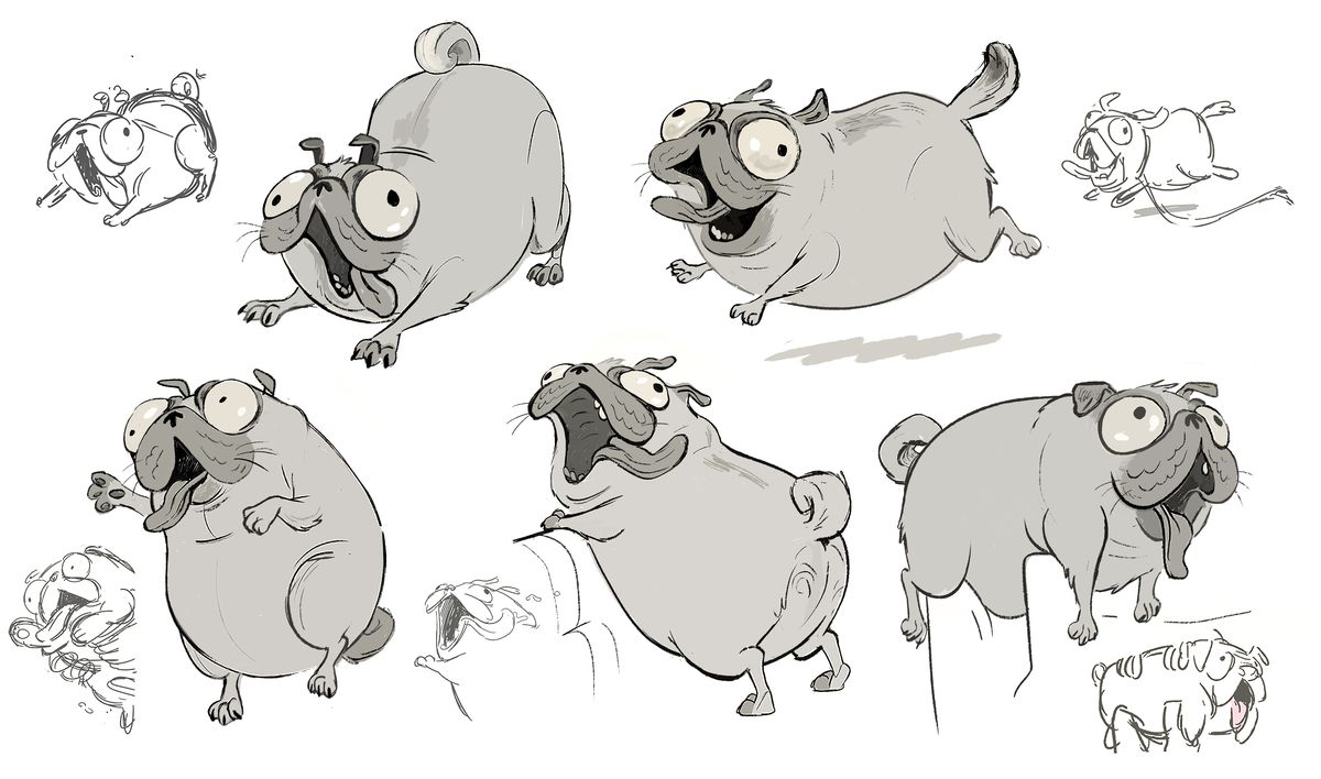 A series of mostly gray-scale development sketches of Monchi, the pug who walks, is draped over seats and plays