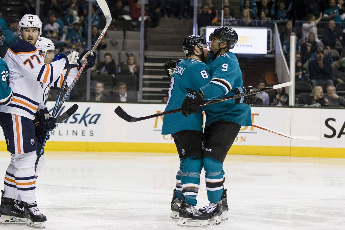Feb 27, 2018; San Jose, CA, USA; San Jose Sharks center Joe Pavelski (8) celebrates with left wing Evander Kane (9) after scoring a goal against the Edmonton Oilers in the second period at SAP Center at San Jose.