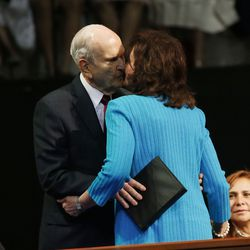 President Russell M. Nelson of The Church of Jesus Christ of Latter-day Saints kisses his wife, Sister Wendy Nelson, after she speaks in a Latin America Ministry Tour devotional in Quito, Ecuador on Monday, Aug. 26, 2019. Sister Nelson talked about their courtship as she spoke tonight. She talked about experimenting with kissing on both sides of the equator. Then when President Nelson talked, he said they should return to the equator to experiment again.