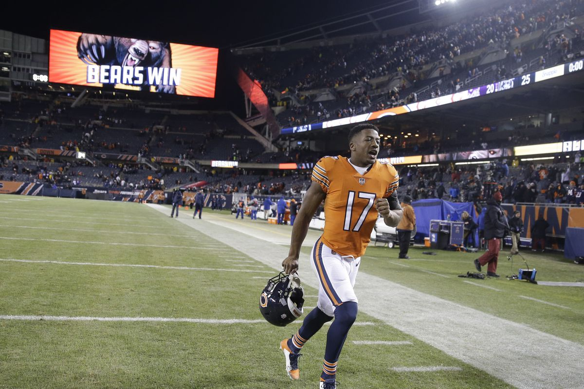 Anthony Miller runs off the field.