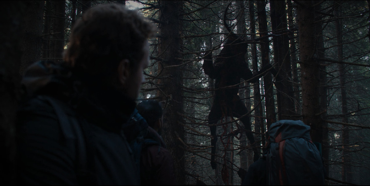 a dead deer hangs from the trees as a man looks on