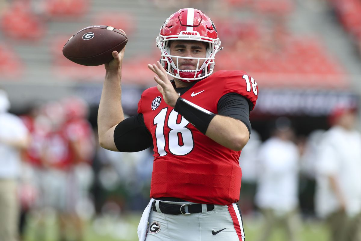 JT Daniels #18 of the Georgia Bulldogs prepares for a game against the UAB Blazers at Sanford Stadium on September 11, 2021 in Athens, Georgia.