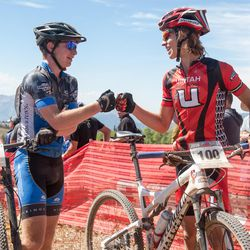 Two competitors exchange congratulations at the first race of the season at Powder Mountain.