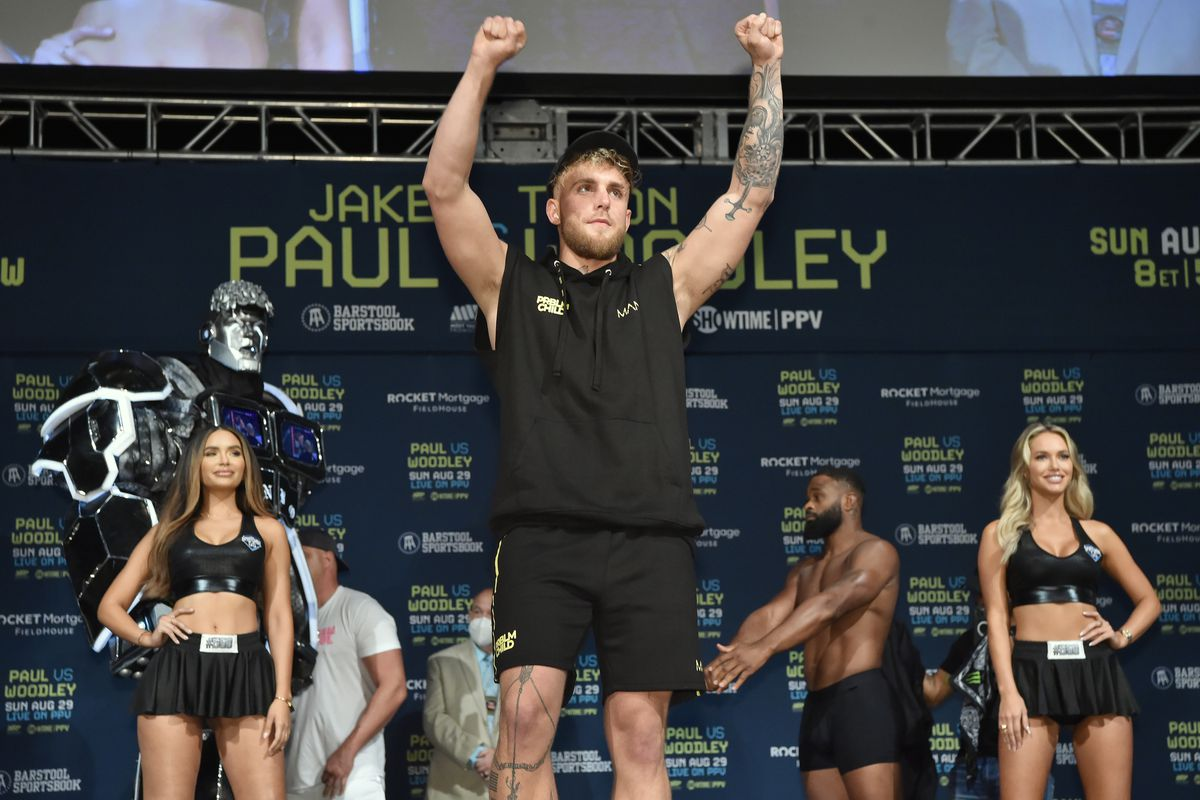 Jake Paul prepares to weigh in for his boxing match against Tyron Woodley.