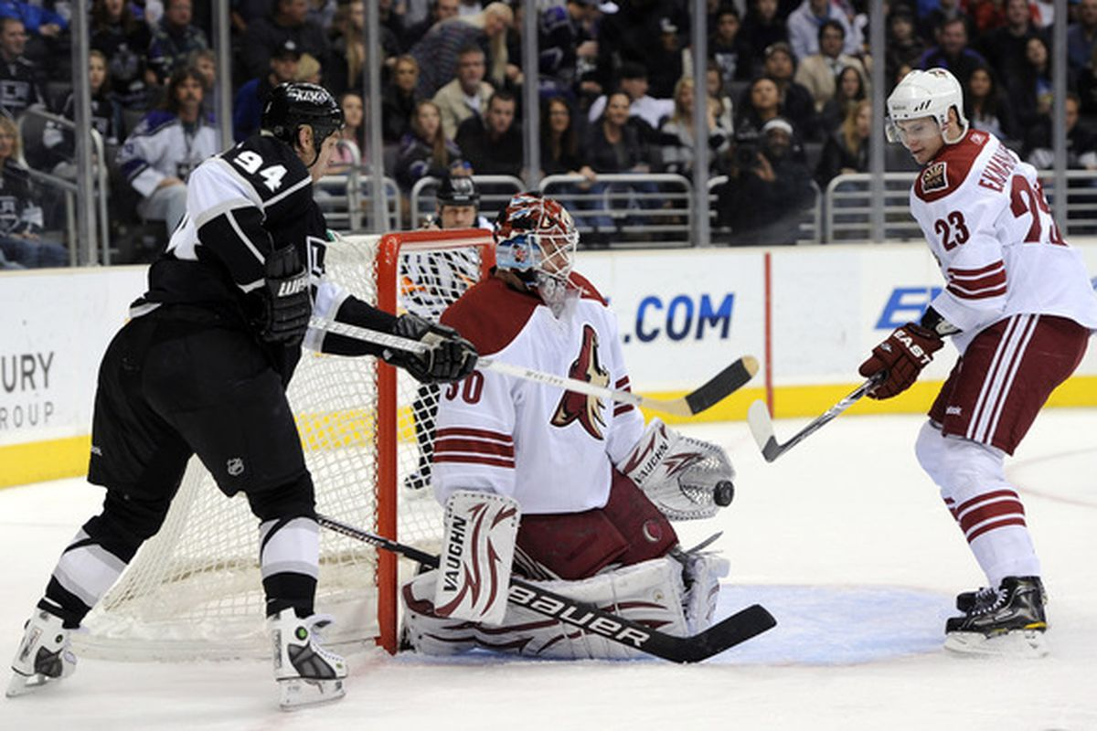 Ilya Bryzgalov makes one of 36 saves in his Shutout on Thursday.