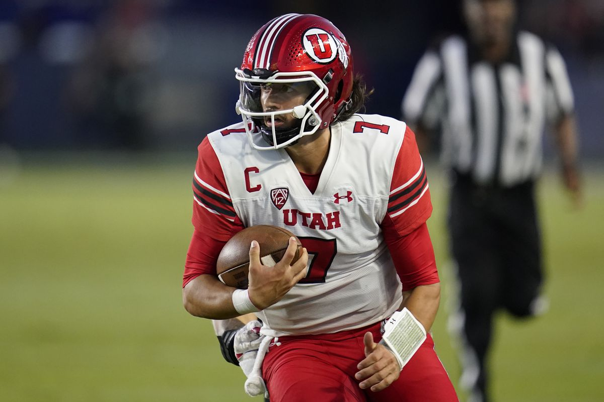 Utah quarterback Cameron Rising looks for yardage during game against San Diego State, Sept. 18, 2021, in Carson, Calif.