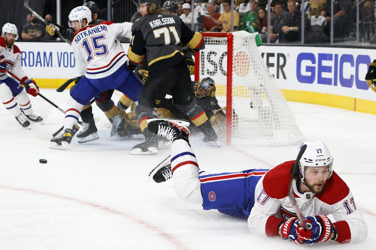 Josh Anderson #17 of the Montreal Canadiens slides on the ice after his shot was blocked by Marc-Andre Fleury #29 of the Vegas Golden Knights in the first period in Game One of the Stanley Cup Semifinals during the 2021 Stanley Cup Playoffs at T-Mobile Arena on June 14, 2021 in Las Vegas, Nevada. The Golden Knights defeated the Canadiens 4-1.