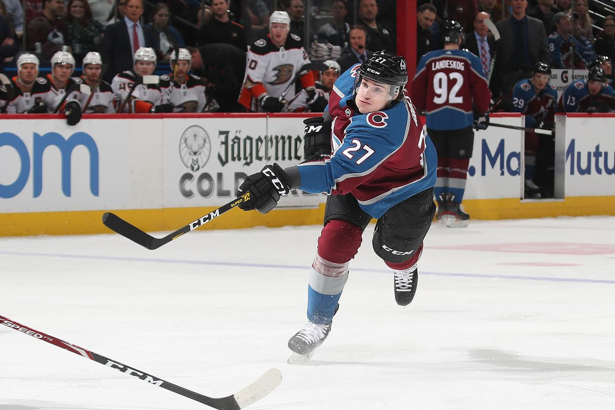 Ryan Graves #27 of the Colorado Avalanche shoots against the Anaheim Ducks at Pepsi Center on March 04, 2020 in Denver, Colorado.