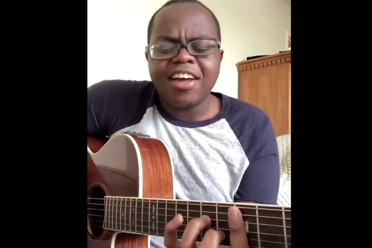 """David Sikabwe uploaded a video of himself playing an original rap verse he wrote for Frank Sinatra's song """"Fly Me to the Moon."""" It has been retweeted over 50,000 times."""