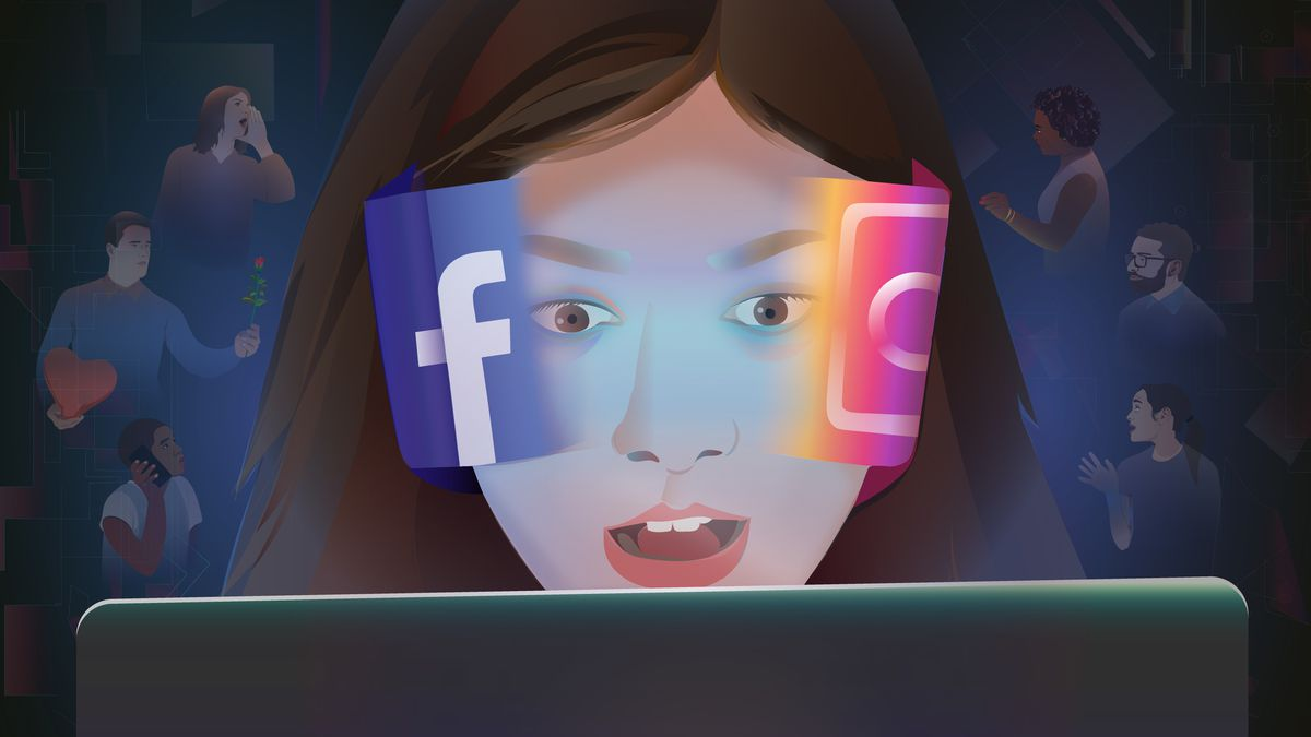 Illustration of a girl intensely looking at a laptop screen with Facebook and Instagram logos stuck to the sides of her face.
