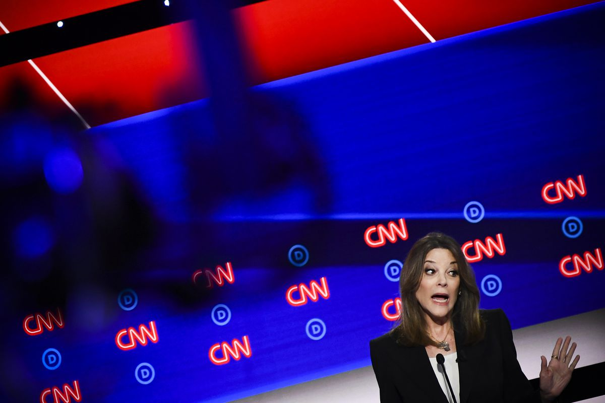 Democratic presidential hopeful Marianne Williamson speaks during the first round of the second Democratic primary debate on July 30, 2019.