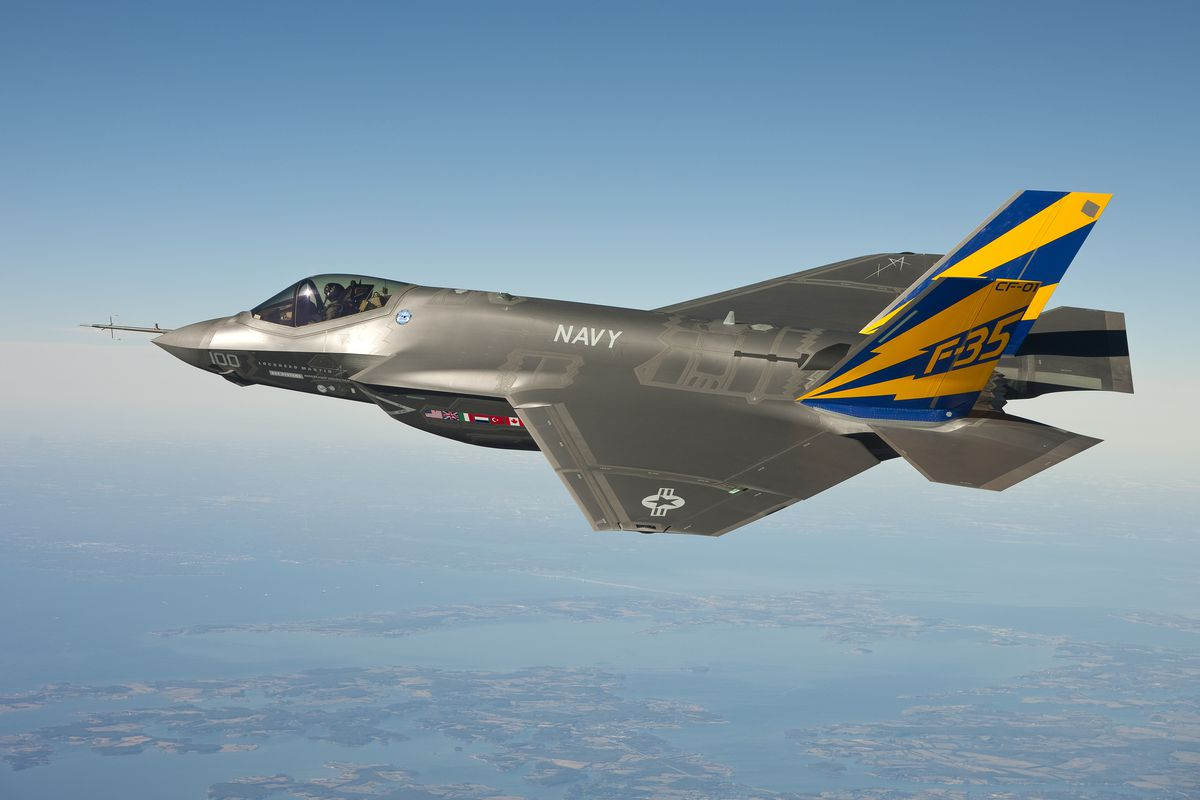 In this image released by the U.S. Navy courtesy of Lockheed Martin, the U.S. Navy variant of the F-35 Joint Strike Fighter, the F-35C, conducts a test flight February 11, 2011 over the Chesapeake Bay.
