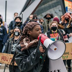 Students from Roosevelt high school participate in a statewide walkout on April 19, 2021 in Minneapolis, Minnesota. Students from high schools across Minneapolis gathered at the U.S. Bank Stadium to stand in solidarity against racial injustice and honor the lives of George Floyd and Daunte Wright.