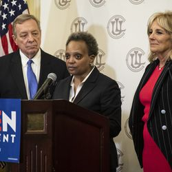 U.S. Sen. Dick Durbin (left) and former Second Lady Jill Biden look on as Mayor Lori Lightfoot endorses former Vice President Joe Biden during a press conference at the Union League Club, Friday afternoon, March 6, 2020.