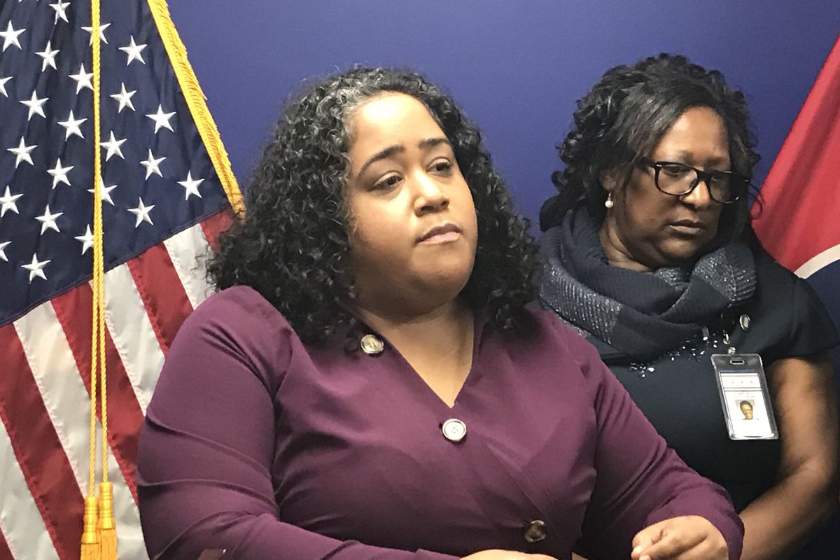 Sen. Raumesh Akbari appears at a 2019 press conference, with House Minority Leader Karen Camper in the background. Both are Democrats from Memphis.