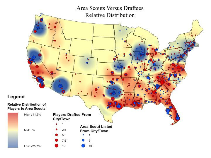 The Map Shows That The Southeastern U S Houston Area And The Outskirts Of Southern California Appear To Be Relatively Under Scouted