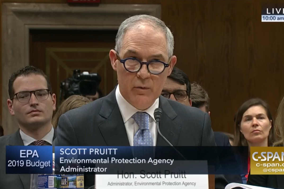 EPA Administrator Scott Pruitt testifying before the Senate appropriations subcommittee on the environment on May 16, 2018.