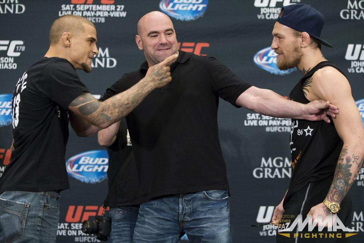 UFC 178 Dustin Poirier vs Conor McGregor Media Day Stare Down by Esther Lin