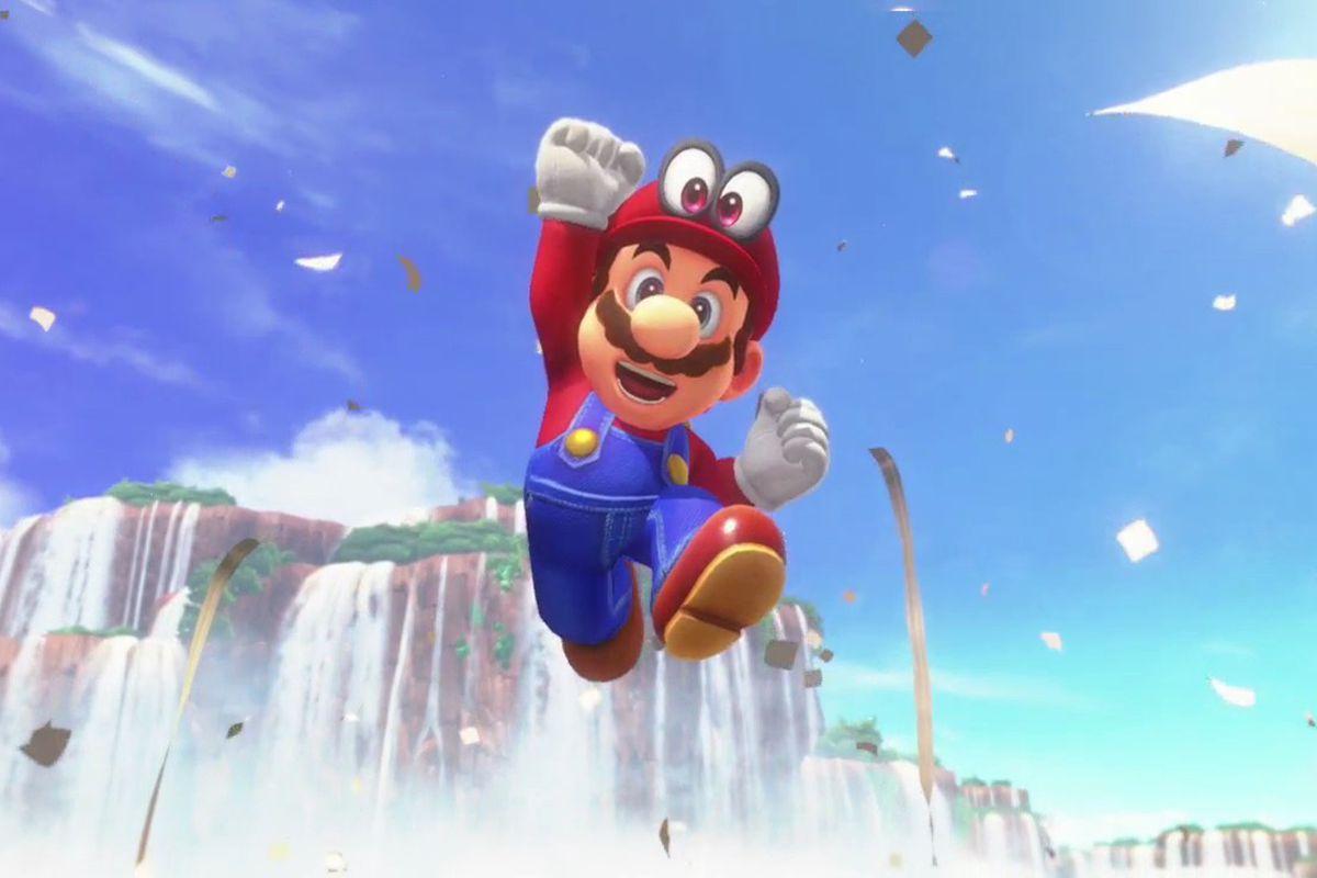 Super Mario Odyssey - Mario jumping to celebrate