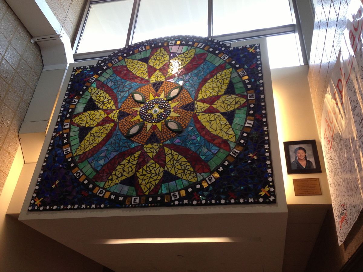 """""""Hope Springs Eternal,"""" a mosaic Jeriel McGinness worked on to honor the life of Hope Fuller, a Creekside Middle School student who died from a pediatric brain tumor."""