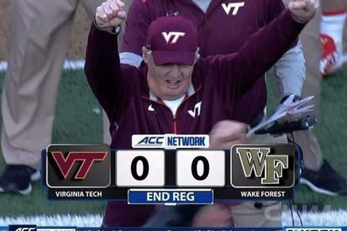 Frank Beamer celebrates a missed field goal which sends Virginia Tech vs. Wake Forest to overtime on  November 22, 2014.