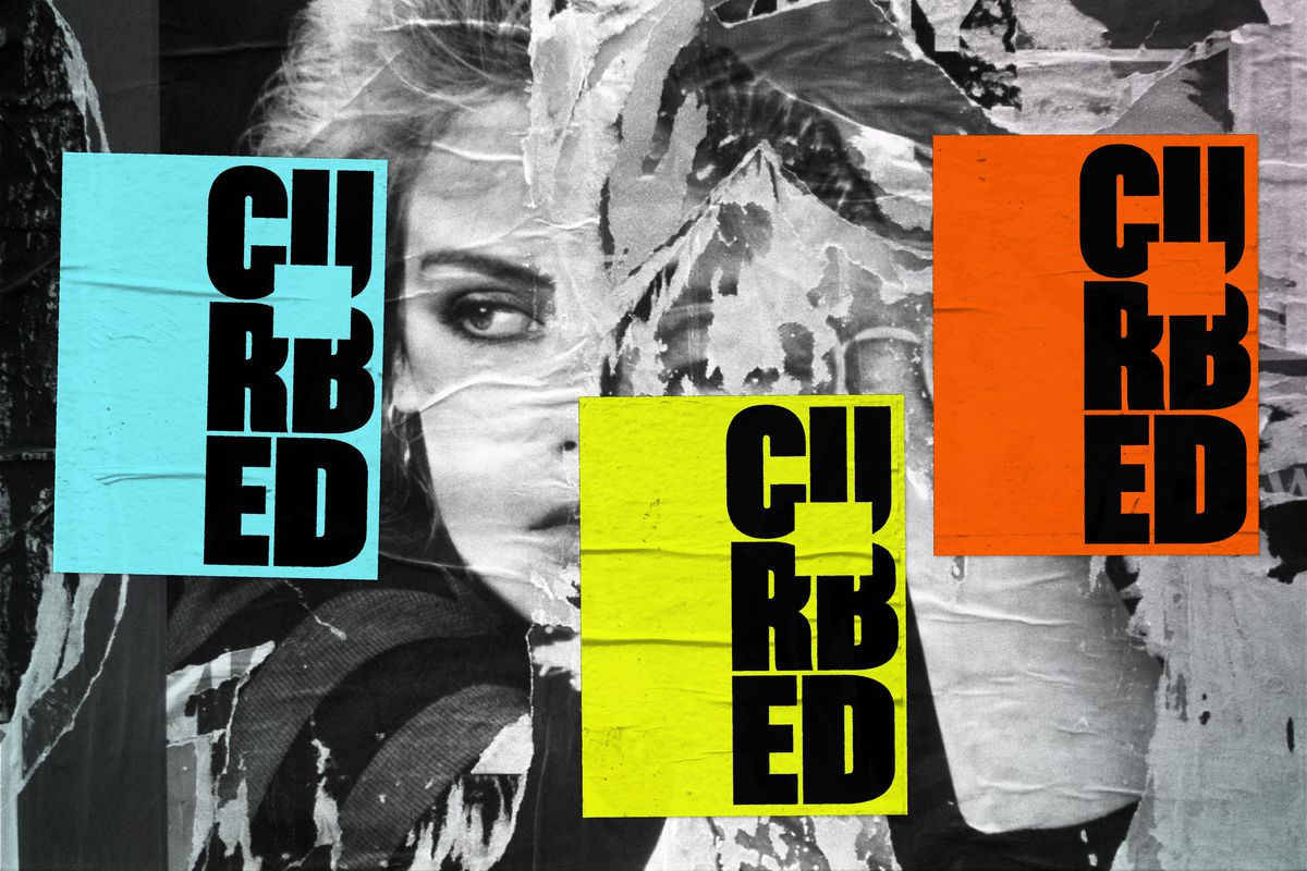 A photo illustration with a background of black and white posters, and then neon posters that say Curbed in teal, yellow, and orange.