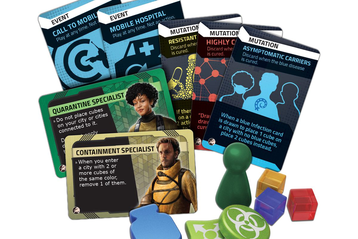 A selection of new characters and cards, including the Containment Specialist and the Quarantine Specialist.