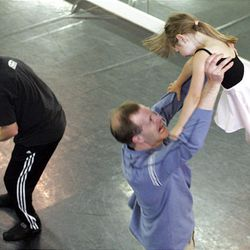 Less than one week before their performance at the Pantages Theater, dads rehearse with their daughters at the Jo Emery Dance Studio.