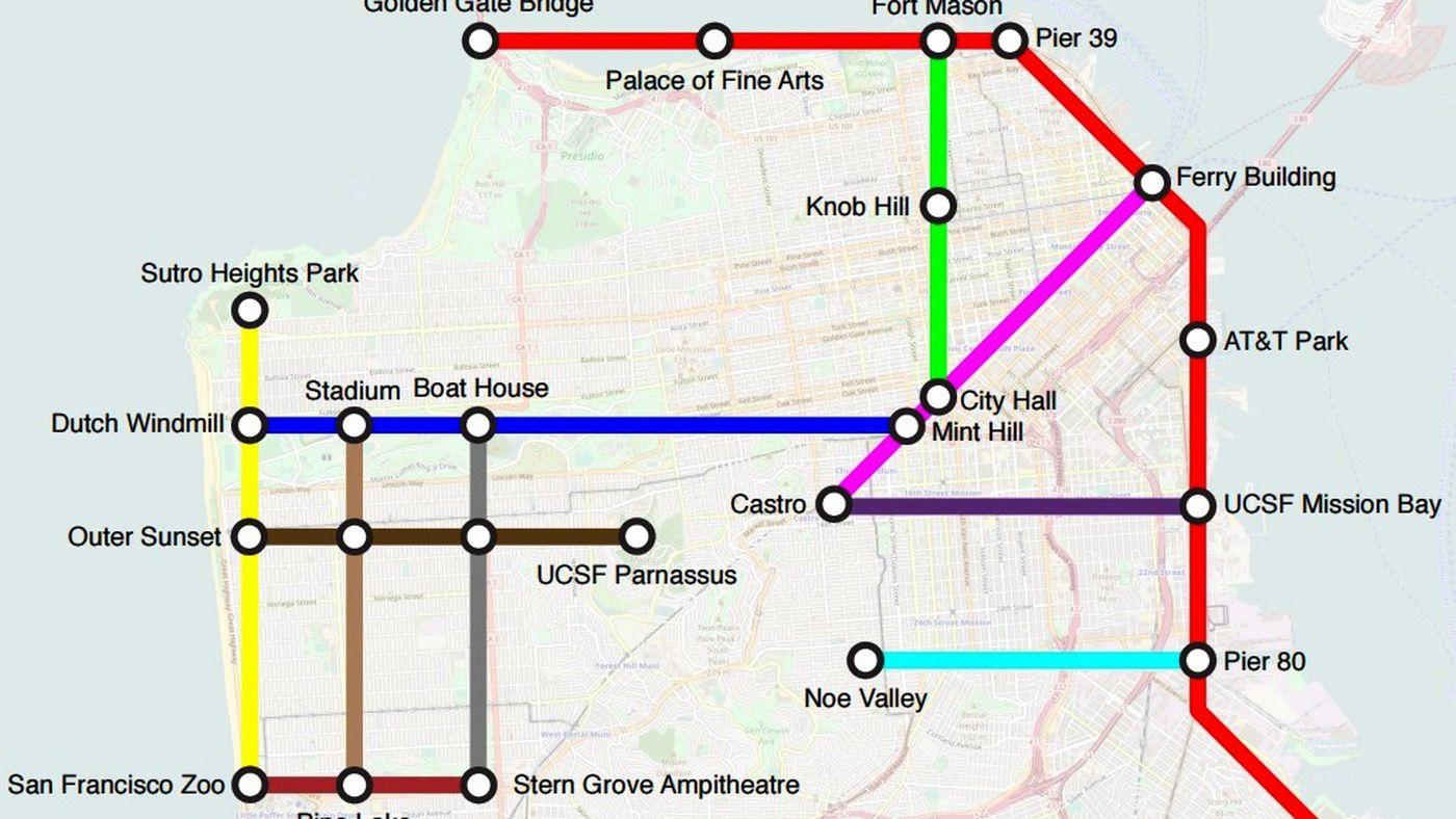 Muni Subway Map.Brilliant San Francisco Bike Map Looks Like A Subway Map Curbed Sf