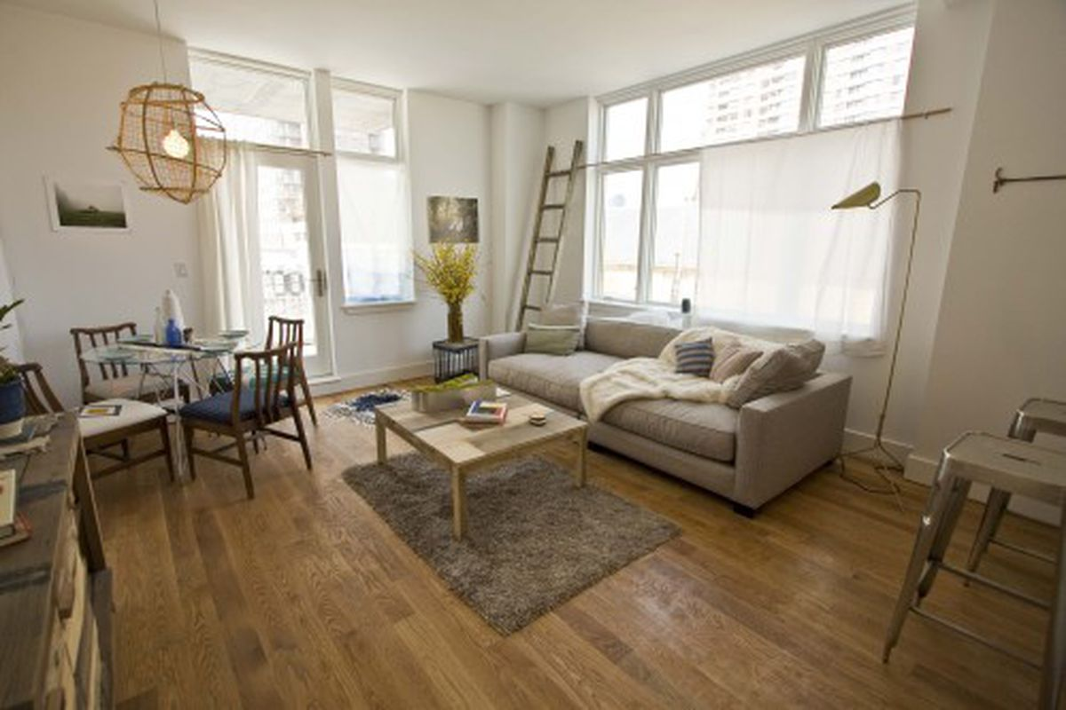 The living room in a 1BR model unit.