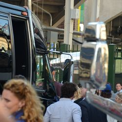 6:33 p.m. My only glimpse of the cup, between the team bus and the parked visiting team bus -