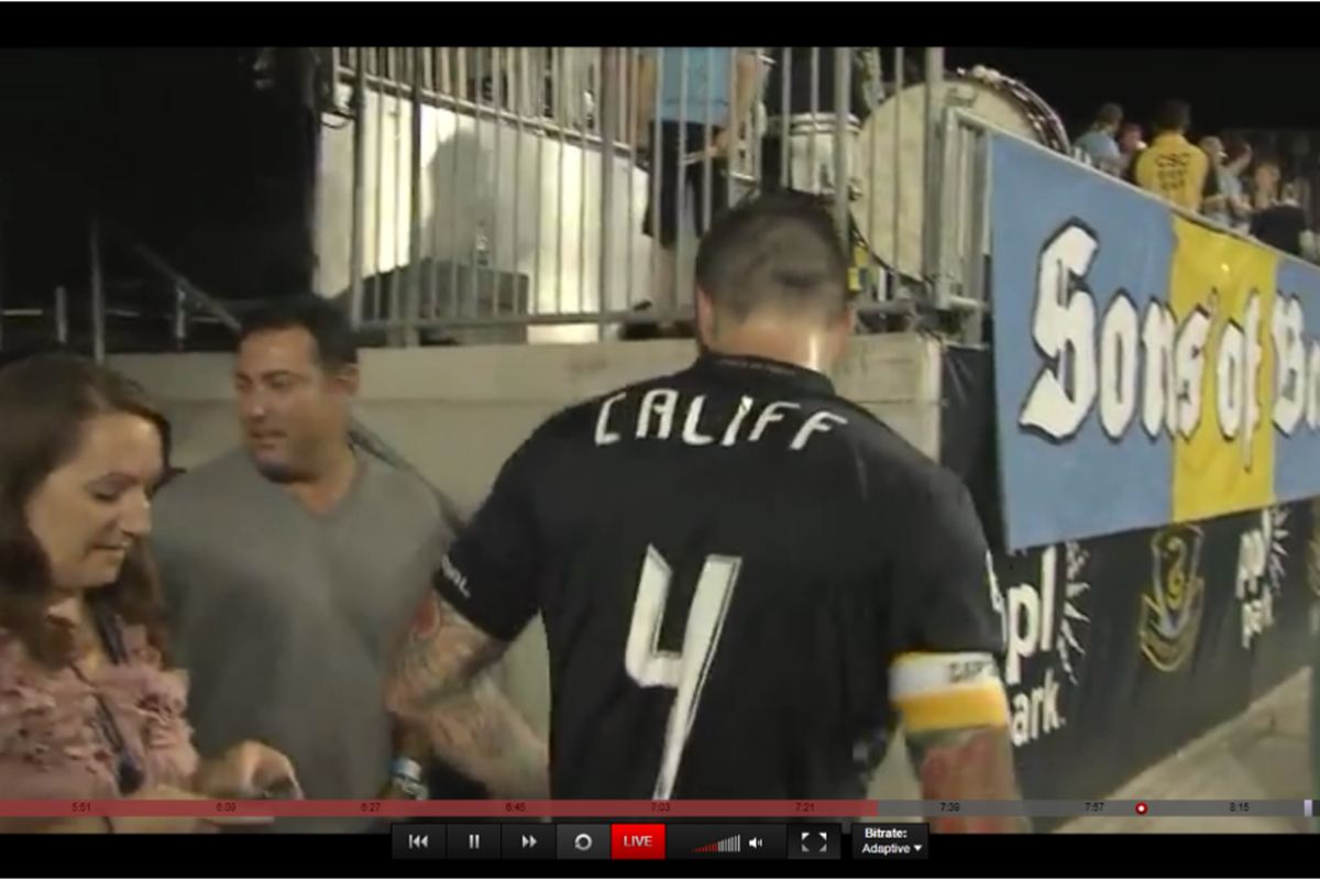 Ruben Amaro, Jr. in the players tunnel inside of the River End at last night's Philadelphia Union home game against the Portlan Timbers. (Screenshot by Justin F., footage courtesy of Match Day Live/CSN (TCN) Philly)