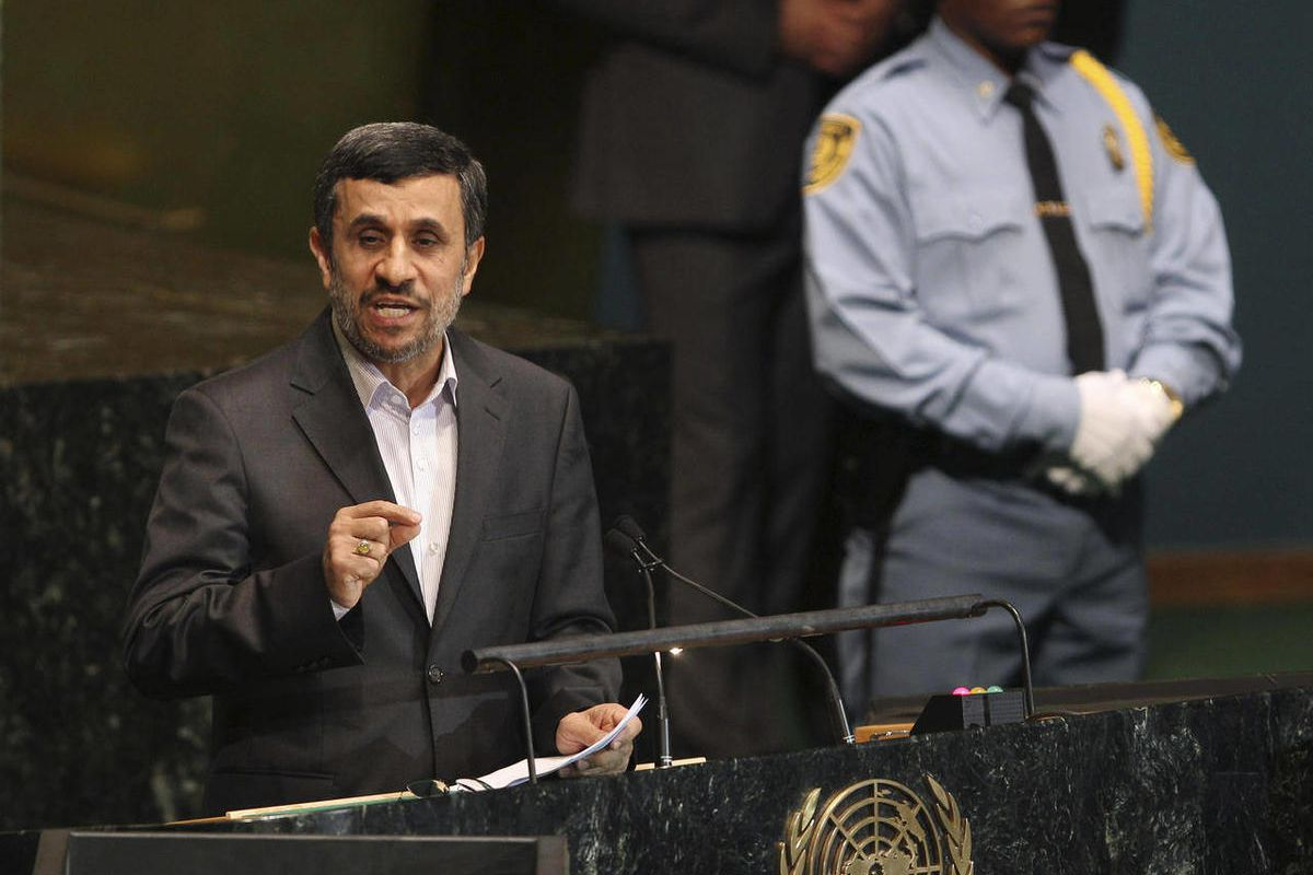Iranian President Mahmoud Ahmadinejad speaks at a high level meeting at United Nations headquarters Monday, Sept. 24, 2012.  Ahmadinejad has dismissed threats of military action against Iran's nuclear program, asserting that its enrichment project is for