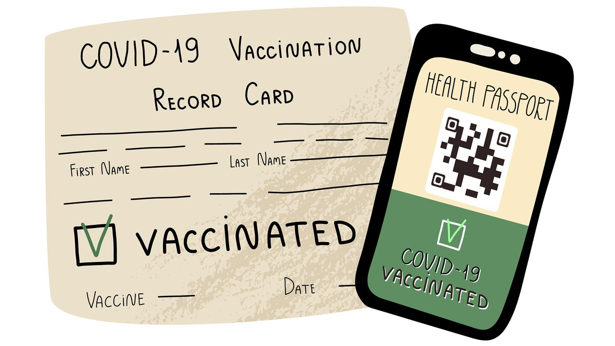 """A drawing of a vaccination card and a cellphone screen with a QR code that says """"Health passport, Covid-19 vaccinated."""""""