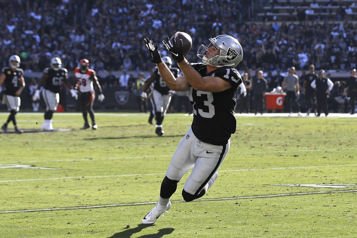 Oakland Raiders wide receiver Hunter Renfrow catches a pass for a first down during the second quarter against the Cincinnati Bengals at Oakland Coliseum.