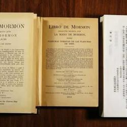 Historic title pages of the Book of Mormon in  German,  Portuguese, Spanish, Mandarin Chinese, and Japanese.