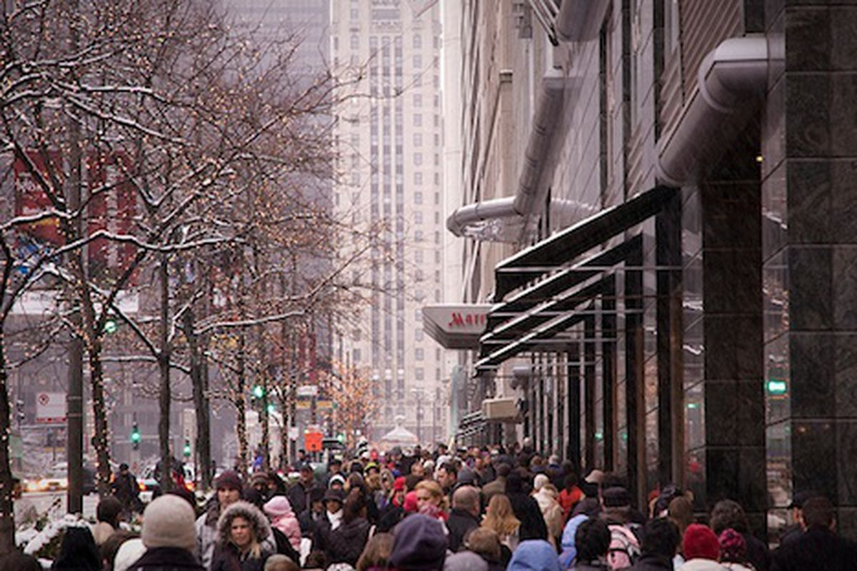 """Holiday shoppers crowd MichAve, image via <a href=""""http://www.flickr.com/photos/ifmuth/5235946949/in/set-72157625410916401/"""">Ian Freimuth's Flickr stream.</a>"""